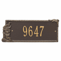 Seagull Rectangle House Number Plaque - Bronze and Gold