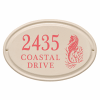 Seahorse Horizontal Oval Personalized Address Plaque - Coral