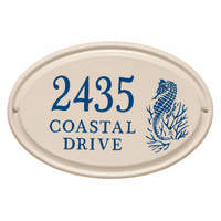 Seahorse Horizontal Oval Personalized Address Plaque - Dark Blue