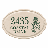 Seahorse Horizontal Oval Personalized Address Plaque - Green