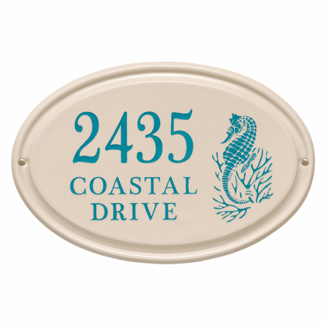 Seahorse Horizontal Oval Personalized Address Plaque - Sea Blue