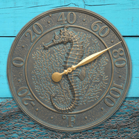 Seahorse Sea Life Indoor/Outdoor Wall Thermometer - Bronze Verdigris
