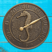 Seahorse Sea Life Indoor/Outdoor Wall Thermometer - French Bronze