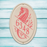 Seahorse Vertical Oval Personalized Address Plaque - Coral