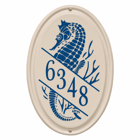 Seahorse Vertical Oval Personalized Address Plaque - Dark Blue