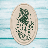 Seahorse Vertical Oval Personalized Address Plaque - Green