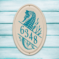 Seahorse Vertical Oval Personalized Address Plaque - Sea Blue