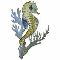 Seahorse with Coral Metal Wall Art