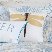 Seascape Coral Dragonfly Pillow