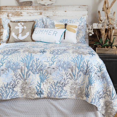 Seascape Coral Quilt Set - Twin
