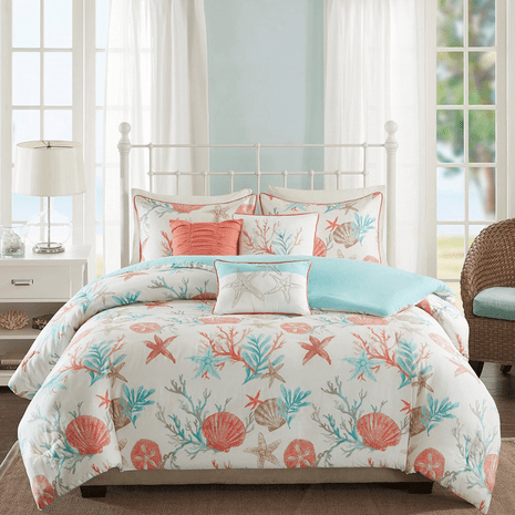 Seashell Bay 6 Piece Duvet Cover Set - Full/Queen