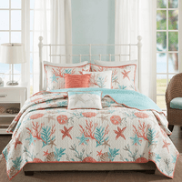 Seashell Bay 6 Piece Quilted Coverlet Set - Full/Queen
