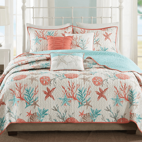Seashell Bay 6 Piece Quilted Coverlet Set - King/Cal King