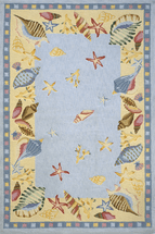 Seashell Light Blue Hooked Rug Collection