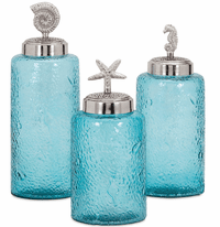 Seashore Textured Glass Canisters - Set of 3