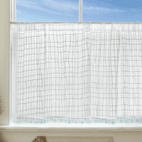 Seaside Breeze Lace Window Tier with Trim - 45 x 24 - OVERSTOCK