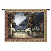 Seaside Fountain Large Wall Tapestry