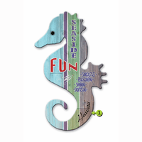 Seaside Fun Seahorse Wood Personalized Sign