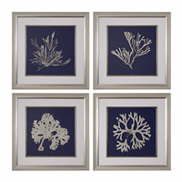Seaweed on Navy Prints - Set of 4
