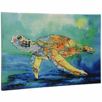 Serious Sea Turtle Canvas Wall Art