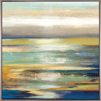 Setting Sun Seascape Framed Canvas Art