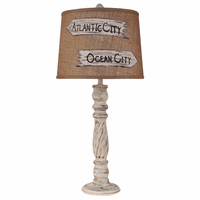 Shabby Summer Swirl Table Lamp with Personalized Burlap Shade