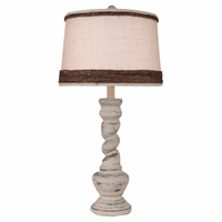Shabby Summer Twisted Pot Table Lamp with Rope Shade