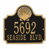 Shell Address Plaque - Black & Gold