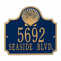 Shell Address Plaque - Blue & Gold