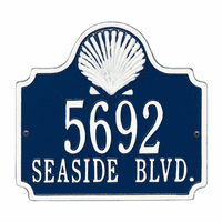 Shell Address Plaque - Blue & White
