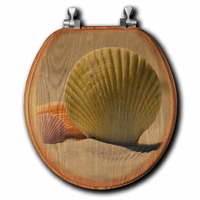 Golden Sands Shell Wood Toilet Seat - Round - OVERSTOCK