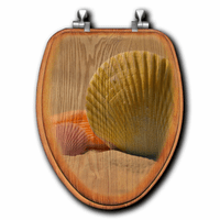 Golden Sands Shell Wood Toilet Seats