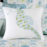 Shell Collector Seahorse Tufted Pillow