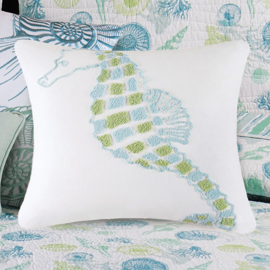 Coastal Decorative Pillows St Martin Blue Seahorse