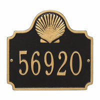 Shell House Number Plaque - Black & Gold
