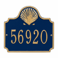 Shell House Number Plaque - Blue & Gold