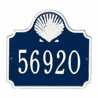 Shell House Number Plaque - Blue & White
