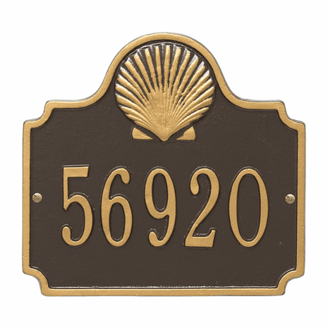 Shell House Number Plaque - Bronze & Gold