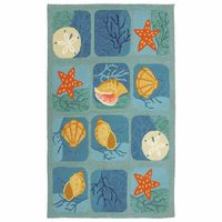 Shell Tile Aqua Indoor/Outdoor Rug Collection