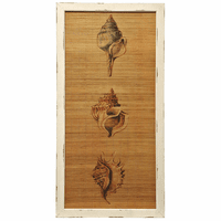 Shell Trio on Straw Mat Framed Wall Art