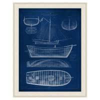 Ship Blueprint II Framed Print