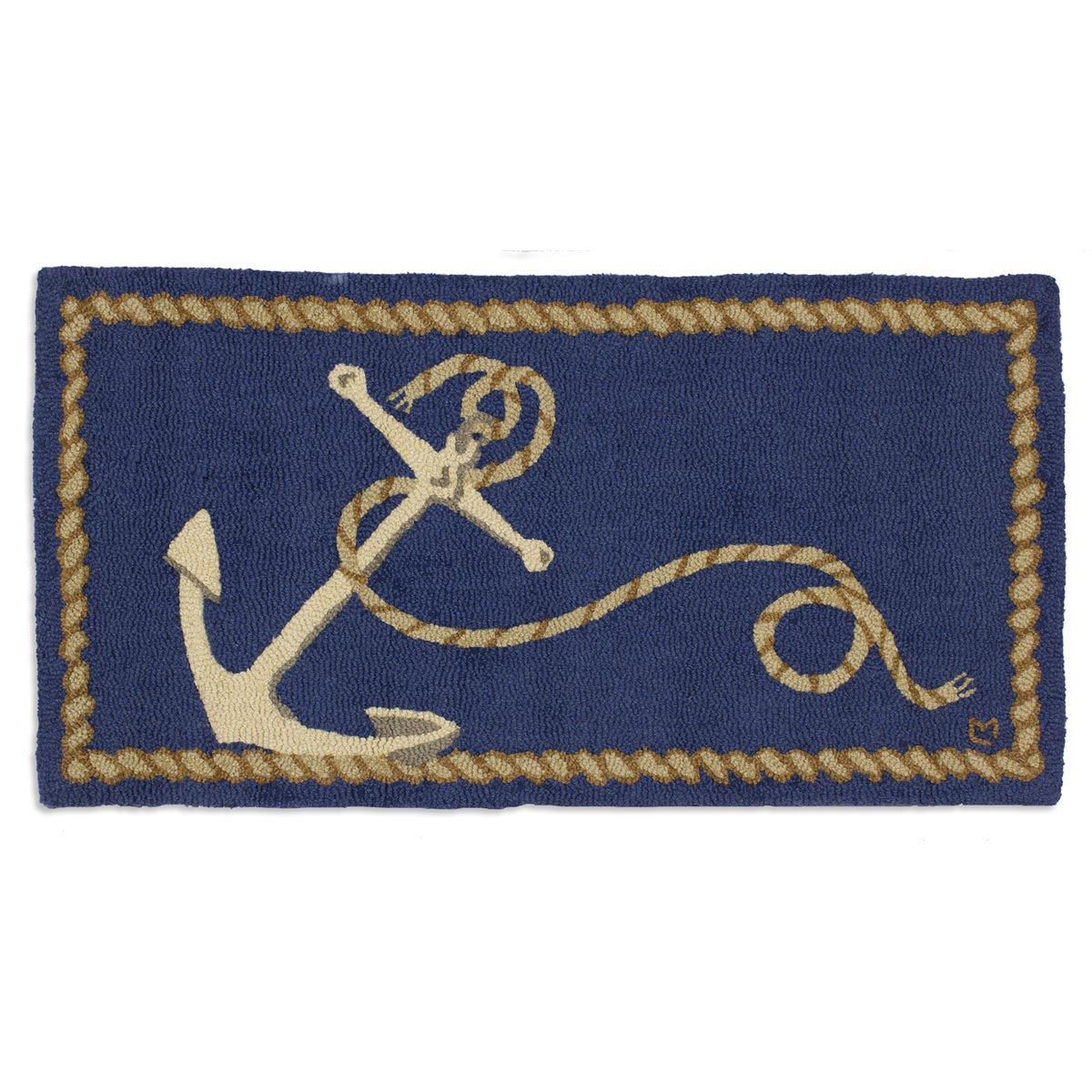 Anchor Rugs: Ship's Anchor Hooked Wool Rug