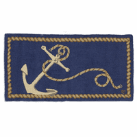 Ship's Anchor Hooked Wool Rug