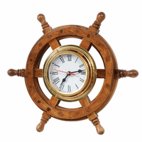 Ship Wheel Wood & Brass Wall Clock