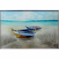 Shore Boats Tempered Glass Wall Art