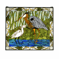 Shorebirds Stained Glass Window