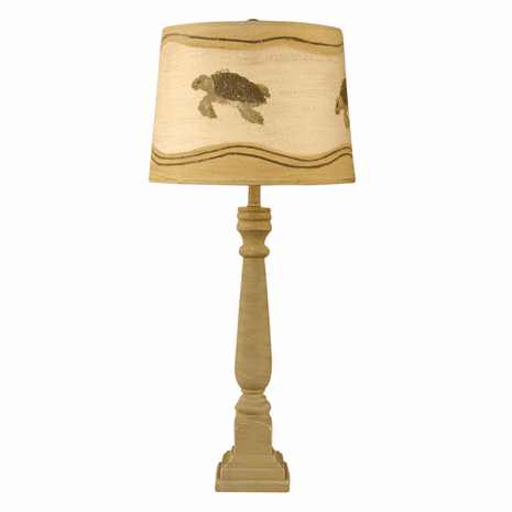 Shoreline Tan Square Buffet Lamp with Turtle Shade