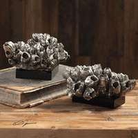 Silver Champagne Barnacles Sculptures - Set of 2