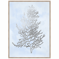 Silver Foil Algae IV on Blue Framed Print