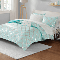 Silver Scallop Comforter Set - Twin